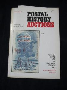 ROBSON LOWE POSTAL HISTORY AUCTION CATALOGUE 1971