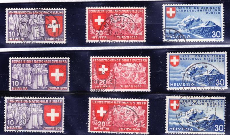 Switzerland 1939 National Expo. all three languages VF/Used (9)