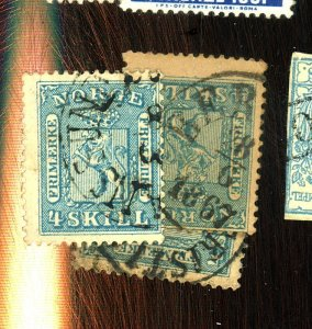 NORWAY 8 (3) USED FVF CPL TINY DEFECTS Cat $54
