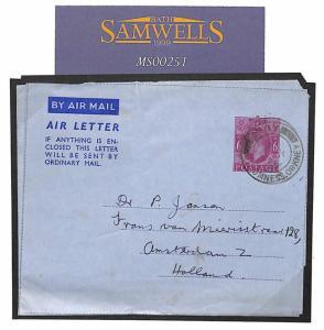 MS251 1952 GB SCOTS ISLANDS Orkneys *HOY* CDS Air Letter Holland RARE ORIGIN