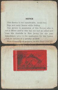 US NJT9 New Jersey Trout Revenue on License - 1957 - Torn in Half