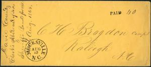 CSA HAND STAMP PAID & 40 AUG 24 MOCKSVILLE, NC ON CLEAN COVER HV4042A