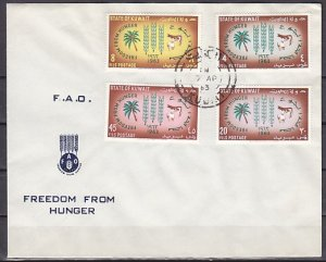 Kuwait, Scott cat. 193-196. F.A.O., Freedom from Hunger. First day cover. ^