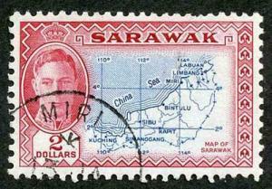 Sarawak SG184 KGVI 2 Dollars Fine used