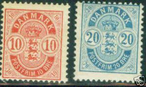 DENMARK  Scott 45 and 48 mint 1895l stamps CV$35