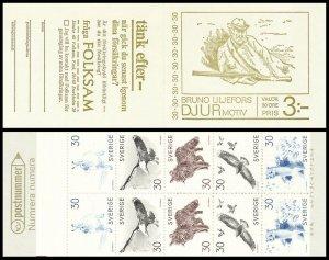 H214 Sweden 1968 MNH stamp booklet Scott 803 a eagle rabbit fox birds Cz Slania