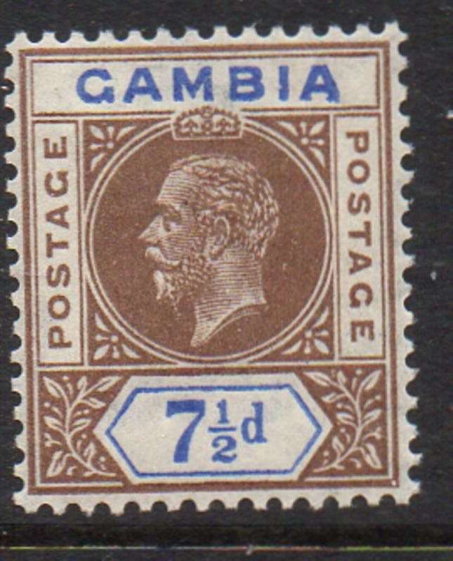 Gambia Sc 94 1921 7 1/2d brown & ultra George V stamp mint