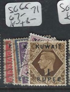 KUWAIT   (P2804B) ON   GB  KGVI  SG 65, 67-71   VFU