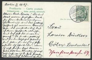 GERMANY 1907 postcard 5pf NM PERFIN, Berlin cds............................58022