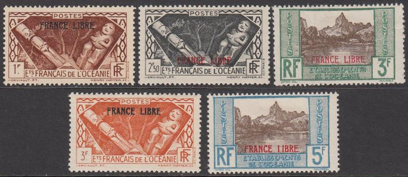 French Polynesia 126-130 MH short set CV $43.00