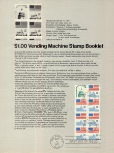 US SP401 Flag Over Capitol Booklet Pane 1623Bc Souvenir Page FDC