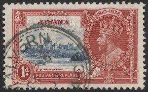 JAMAICA 1935 1d KGV  Sc 109 Used VF, Silver Jubilee, Malvern postmark/cancel