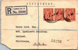 London UK > Oakland CA registered 1927 3 1½d GV stamps