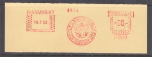 SURINAME, Meter, 1953 Francotyp, Proof strike on piece, Paramaribo, F 003. 00