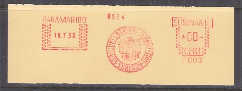 SURINAME, Meter, 1953 Francotyp, Proof strike on piece, Paramaribo, F 003. 00