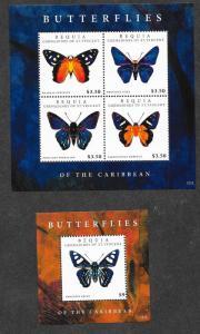 Bequia Mint NH MNH Butterflies Sheets!