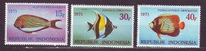 J22747 JLstamps 1971 indonesia set mnh #810-12 colorful fish