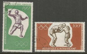 CENTRAL AFRICAN REPUBLIC  C93-C94  USED,  OLYMPIC RINGS AND BOXING