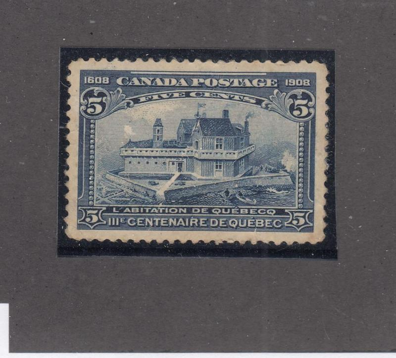 CANADA # 99  VF-MH  5cts  1908 CHAMPLAIN'S HABITATION / BLUE CAT VALUE $150