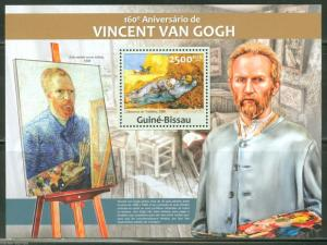 GUINEA BISSAU 2013 160th BIRTH  VINCENT VAN GOGH  SOUVENIR SHEET MINT NH