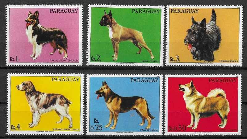Paraguay MNH Set Of 6 Dogs WOOF!!! WOOF!!!!