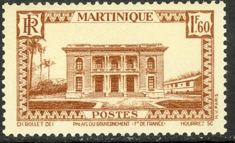 MARTINIQUE 1933-40 1.60fr Government Palace Pictorial Sc 163 MVLH