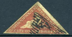 CAPE OF GOOD HOPE-1855-63 1d Deep Rose Red 3 margin example Sg 5b GOOD USED