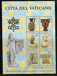 VATICAN CITY, 718, MNH,S.S OF 6, THE PAPACY AND ART