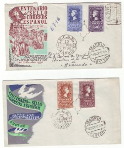 Z737 JLstamps 2 1959,s spain  covers #776-7, c127-8 stamp on stamps