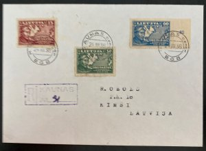 1936 Kaunas Lithuania Registered cover To Kimsi Latvia Sc#C85-C87
