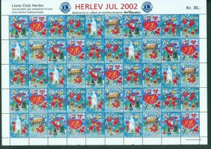 Denmark. Christmas Sheet Mnh 2002. Lions Club. Local Herlev. Santa,Valentines