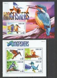 ST622 2015 SIERRA LEONE BIRDS FAUNA KINGFISHERS 1KB+1BL MNH STAMPS