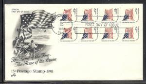 US #1598a Flag Booklet Pane Artcraft cachet U/A fdc