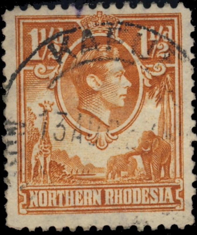 NORTHERN RHODESIA - 194? - SG30 CANCELLED KAFUE DOUBLE CIRCLE DATE STAMP