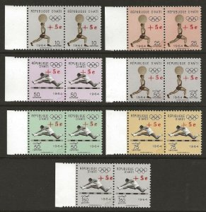 Haiti 1965 Tokyo Olympics Sports Set #B35-37, CB51-54 with RED SURCH. var. VF-NH