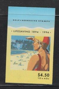 Australia #1366a (1994 Life Saving  booklet) VFMNH CV $19.00