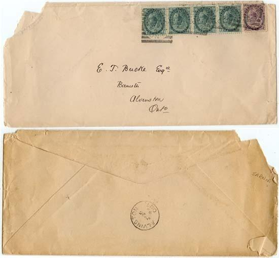 Canada - 1899 Triple Domestic Rate Cover Sq. Circles
