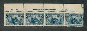 US Sc#230 M/NH, Imprint Plate # Strip Of 4, No 197 VV