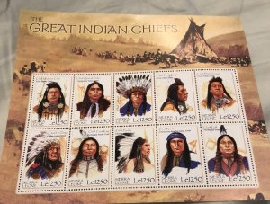 Sierra Leone Great Indian Chiefs Stamp Sheet (Unused)
