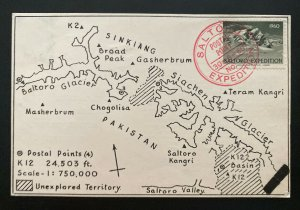 1960 Pakistan Mt Everest Saltoro K12 Expedition Postcard Airmail Cover