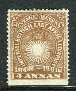 BRITISH EAST AFRICA; 1890-94 early classic Mint hinged 4a. value Imperf Margin
