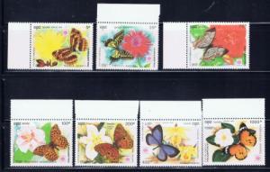 Cambodia 1175-81 NH Butterflies set;