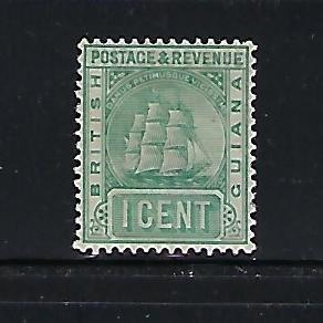 BRITISH GUIANA SCOTT #131A 1889-1903 SHIP TYPE 1C (GRAY GREEN) WMK 2- MINT HINGE