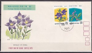 South Korea, Scott cat. 952-953. Flowers issue. First day cover. ^