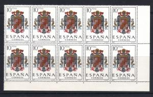 Spain Coat of Arms Part Sheet 10 Stamps 10p Scott 104G MNH