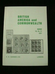 HR HARMER AUCTION CATALOGUE 1971 BRITISH AMERICA & COMMONWEALTH