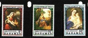 Bahamas-Sc#569-71-unused NH set-Christmas-Paintings-1984-