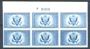 US Plate Sc# 771 Air Post Special Delivery  MNH 1935 Choice Top Position With F