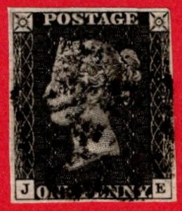 GBR SC #1 U (J,E) 1840 Queen Victoria 4 margins w/black cancel CV $320.00