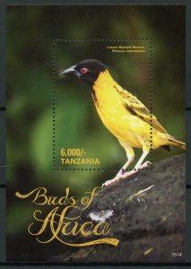 Tanzania Stamps 2015 MNH Birds of Africa Lesser Masked Weaver 1v S/S II